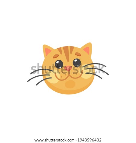 Happy ginger cat with long whiskers isolated happy emoticon. Vector red cat snout, feline purebred, short hair striped cat. Portrait of smiling kitten, head or print of home friendly animal Stock photo ©