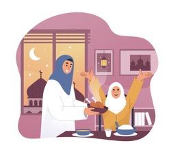 Happy girl and her mother enjoying ramadan iftar meal