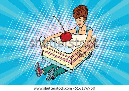 Happy girl and sweet cake. Pop art retro comic book vector illustration