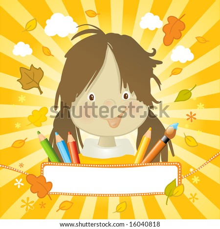happy girl, autumn leaves, colored pencils and a nice banner for your text.