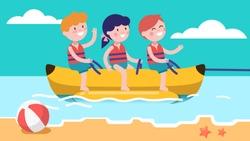 Happy girl & boys children enjoying water banana boat ride attraction at sea or ocean shore. Excited kids having fun. Children cartoon characters. Summer holidays amusement. Flat vector illustration