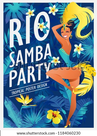 happy girl dancing samba