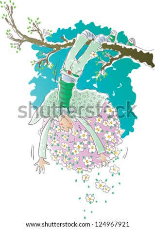 Happy girl hanging upside down. The girl has purple hair. Flowers in her hair. - stock vector