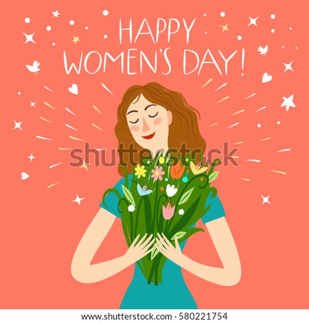 happy girl holding a bouquet of