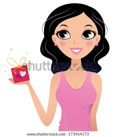 happy girl holding gift box