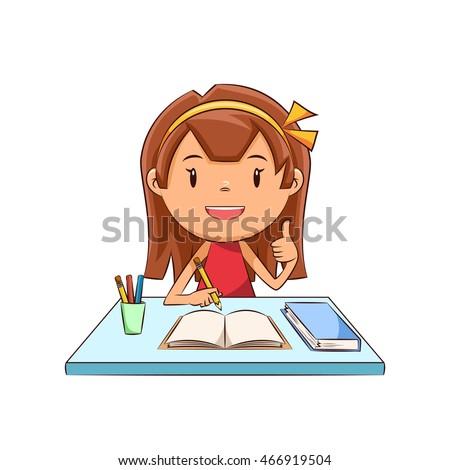 Happy girl, homework, studying
