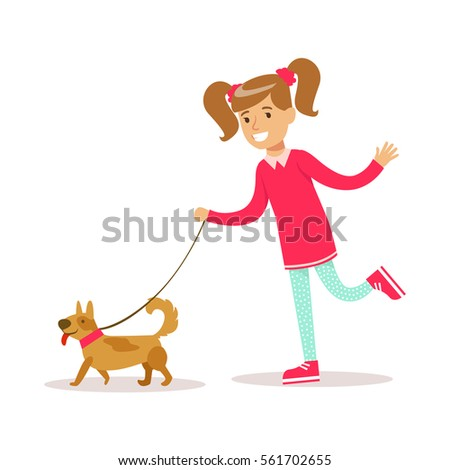 Happy Girl In Classic Girly Color Clothes Smiling Cartoon Character Walking A Dog