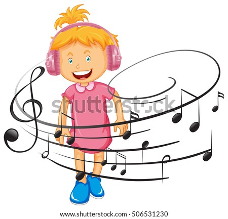 happy girl listen to music by