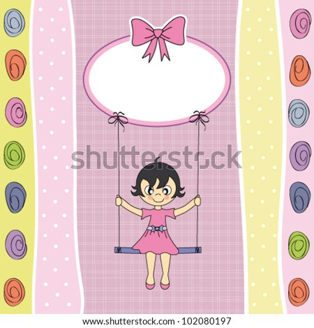 happy girl on a swing. greeting card