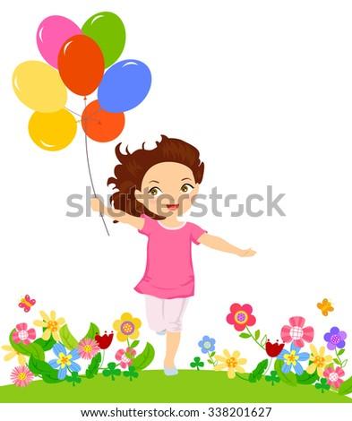 happy girl running with balloon