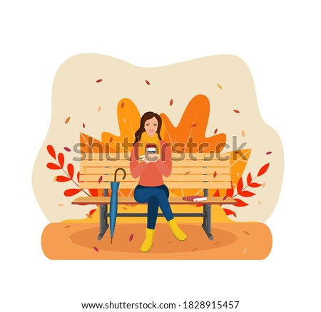 happy girl sitting on a bench