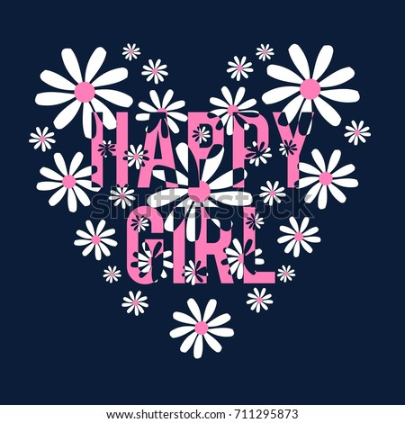 happy girl slogan and pattern
