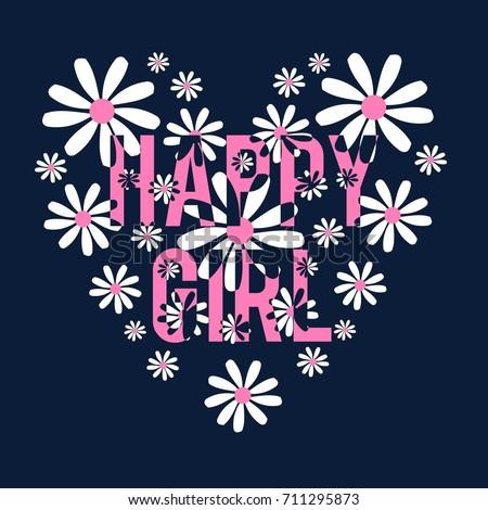 happy girl slogan and pattern