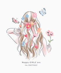 happy girl slogan with blonde hair girl with colorful flower illustration
