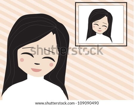 Happy girl with her picture - stock vector