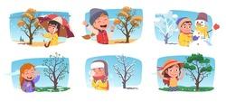 Happy girls, boys kids enjoying four seasons weather set. Children persons holding umbrella in autumn rain, making snowman in winter, walking in spring, summer park with tree. Flat vector illustration