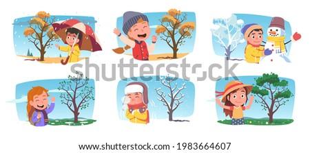 Happy girls, boys kids enjoying four seasons weather set. Children persons holding umbrella in autumn rain, making snowman in winter, walking in spring, summer park with tree. Flat vector illustration Сток-фото ©