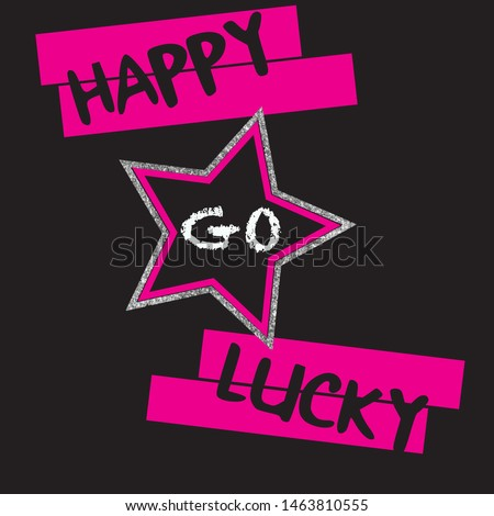 happy go lucky text  star  pink