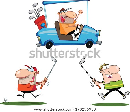 Happy Golfers Cartoon Characters. Set Vector Collection