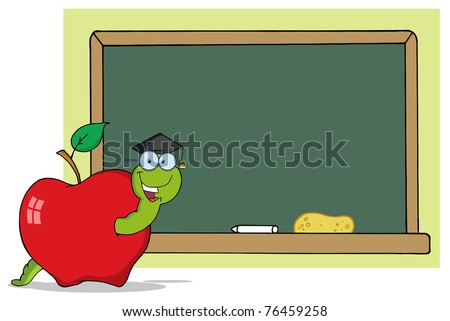 Happy Graduate Cartoon Worm In Apple And School Chalk Board
