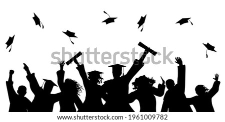 Happy graduate students with graduating caps and diploma or certificates, silhouette of group of people. Graduation event. Vector illustration