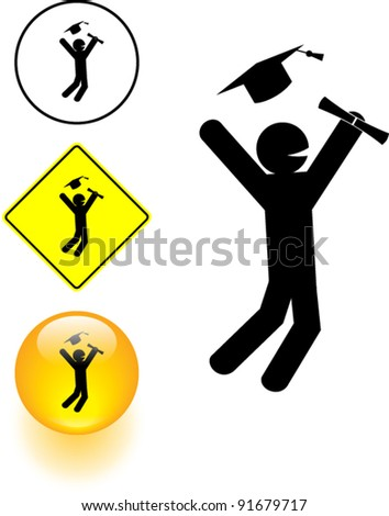 happy graduate symbol sign and button