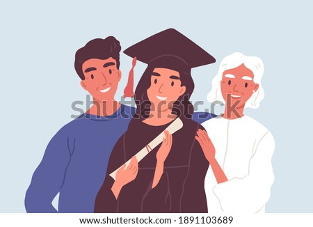 Happy graduated female student in graduation cap and robe standing together with mom and dad. Parents proud of their daughter's academic degree and achievements. Flat vector illustration