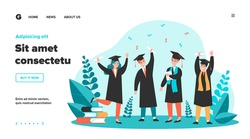 Happy graduated students flat vector illustration. Cartoon girls and guys celebrating academic diploma degree. Education and university certificate concept