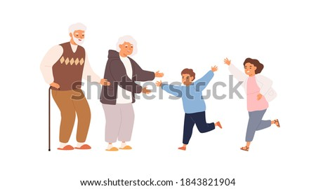 Happy grandchildren running to smiling grandmother and grandfather. Scene of family hug or relations. Retired grandparents welcome children on white. Flat vector cartoon illustration isolated on white Сток-фото ©