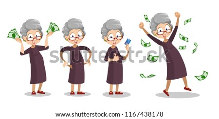 Happy grandmother with dollar banknotes set. Funny old woman celebrating financial success or jackpot. Successful rich pensioner holding credit card cartoon personage. Cash falling vector illustration