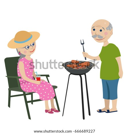 Happy grandparents on a rest . Happy grandparents fry steaks on a barbecue