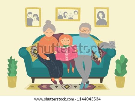 Happy grandparents reading book with grandaughter. Senior man, senior woman and kid sitting on sofa at home. Heartwarming grandparenting, family, generation concept. Original vector illustration.