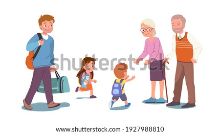 Happy grandson, granddaughter children run to grandfather, grandmother hands. Father pulling wheel suitcase. Grandparents greeting visiting grandchildren kids. Meeting family flat vector illustration