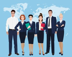 Happy group of a professional business team standing over on world map background. Businessman team.