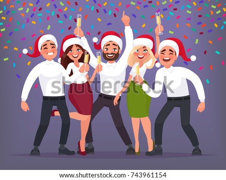 Happy group of business people at a Christmas and New Year's corporate party. Vector illustration in cartoon style