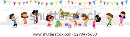 Happy group of cartoon children having fun at birthday party. Seamless children's panorama for your design. Template for advertising brochure. Vector