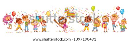 Happy group of children having fun at birthday party. Little girl is going to broke the pinata. Seamless children's panorama for your design. Template for advertising brochure. Funny cartoon character