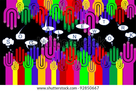 Happy group of finger smileys with social chat sign, vector