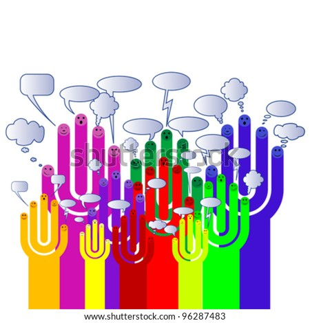 Happy group of finger smileys with social chat sign, vector - stock vector