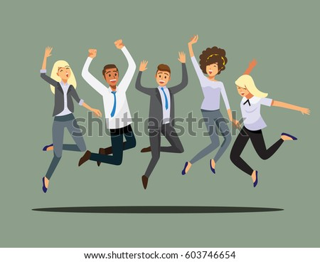 Happy group of friend office worker  jumping.Vector illustration cartoon character.
