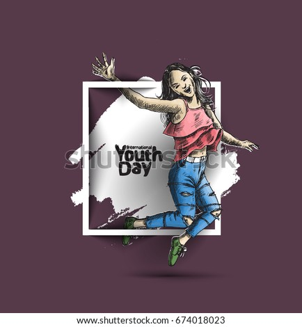 Happy group of girl jumping on a black background. The concept of friendship, healthy lifestyle, success. International Youth day - 12 August,
