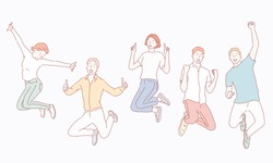 Happy group of people jumping on a white background. The concept of friendship, healthy lifestyle, success. Hand drawn style vectors design illustation.