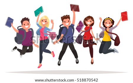 Happy group of students are jumping on a white background. Cheerful young people with backpacks and books. Vector illustration in a flat style