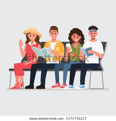 Happy group of teen traveler airport seat in waiting area.Vector illustration cartoon character.