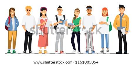 Happy group of teen University student .Vector illustration cartoon character.