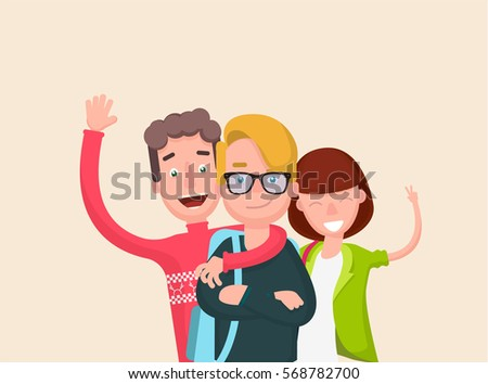 Happy group students. Cheerful young people with backpacks and books. Vector illustration in a flat style