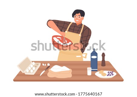 Happy guy in apron mixing ingredients preparing dough in bowl vector flat illustration. Smiling man cooking dessert at kitchen table isolated on white. Preparation homemade pastry or baking Foto d'archivio ©