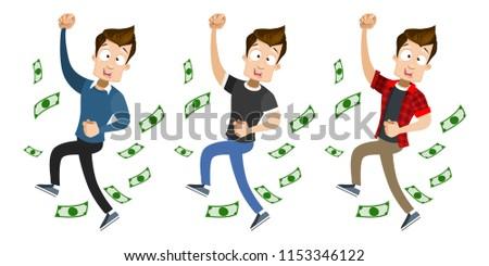 happy guy under money fall...
