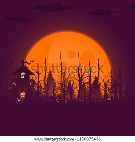 Happy Halloween background and scary tree pumpkin on graveyard full moon dark night and tombstone black bat. church on graveyard. Vector illumination