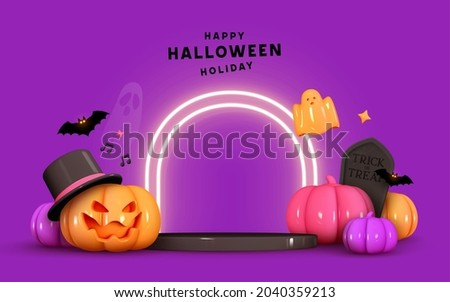 Happy Halloween background. Realistic 3d design stage podium, round studio, neon lights. Orange pumpkins in hat, emotion on his face scary smile. Bats fly, ghost. Creative Banner, web poster. Vector